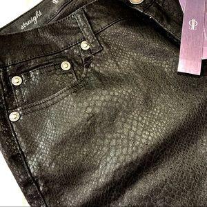 Jennifer Lopez black crocodile straight-leg pants